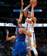 Devin Booker had 35 points with four rebounds and two assists against the Nuggets on Jan. 25.