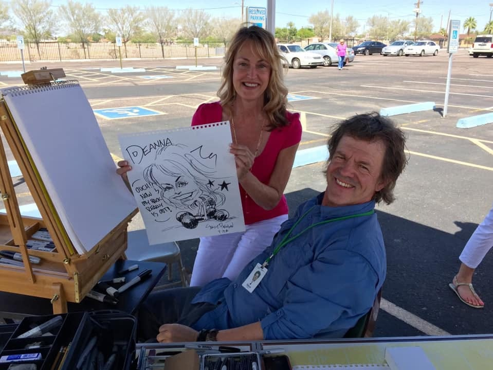 Steve Benson would set up an easel at festivals and events and draw caricatures to raise money for charity.