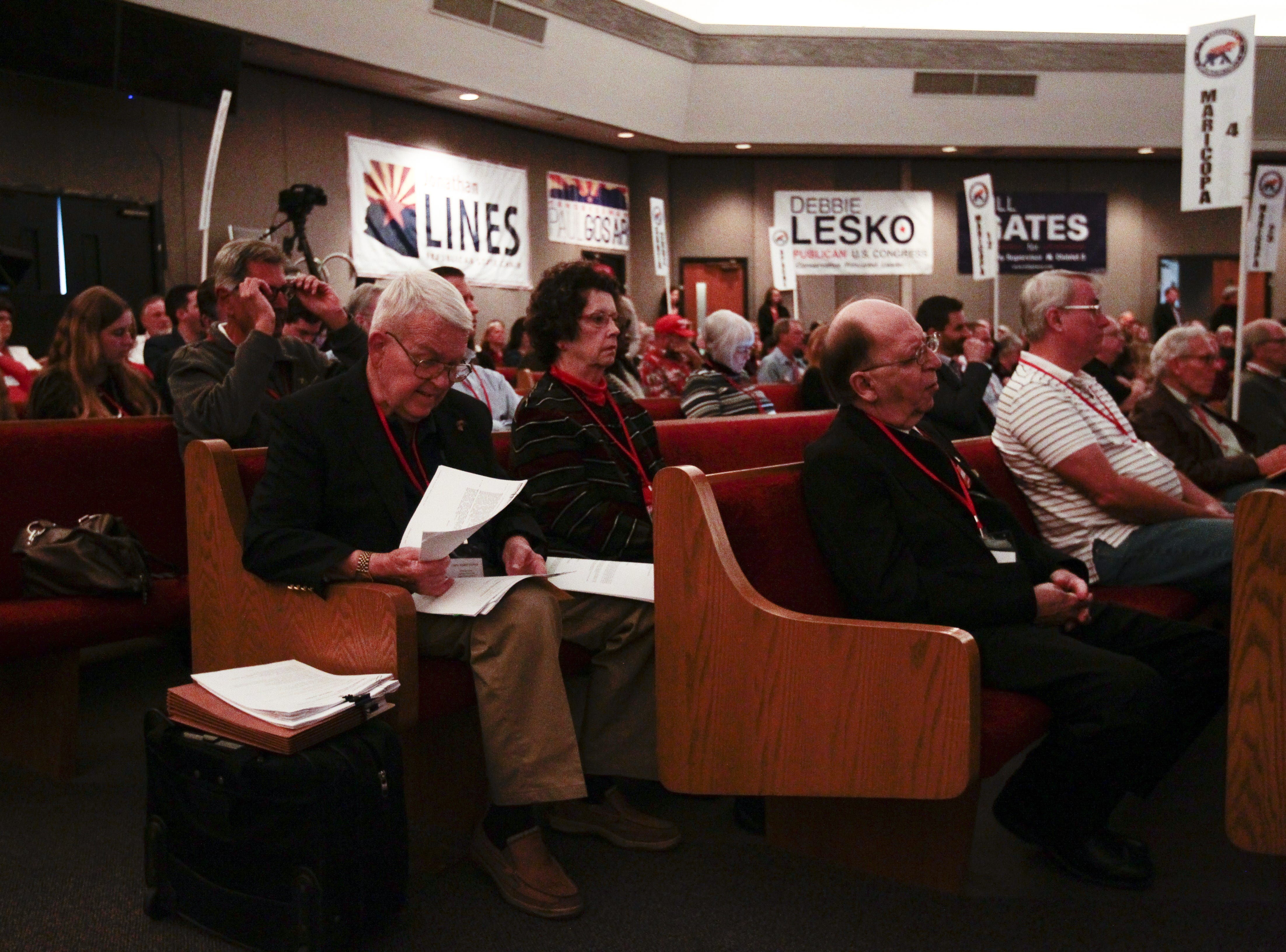 The crowd listens to speakers during the Statutory Meeting of the State Committee of the Arizona Republican Party at Church for the Nations on Saturday, Jan. 26, 2019.
