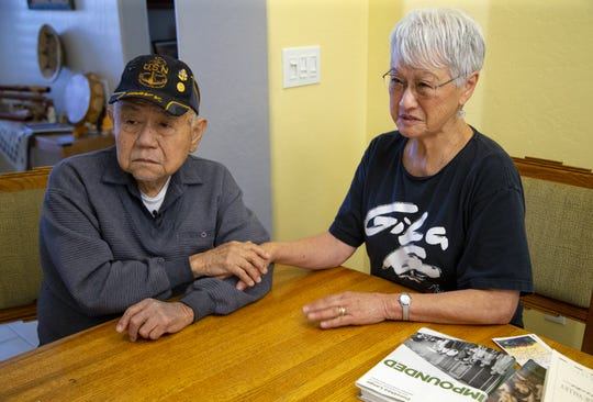 Gila River Relocation Center survivors Tom Koseki and Midori Hall share stories about internment camp. Koseki arrived when he was in first grade and Hall was born in the camp.