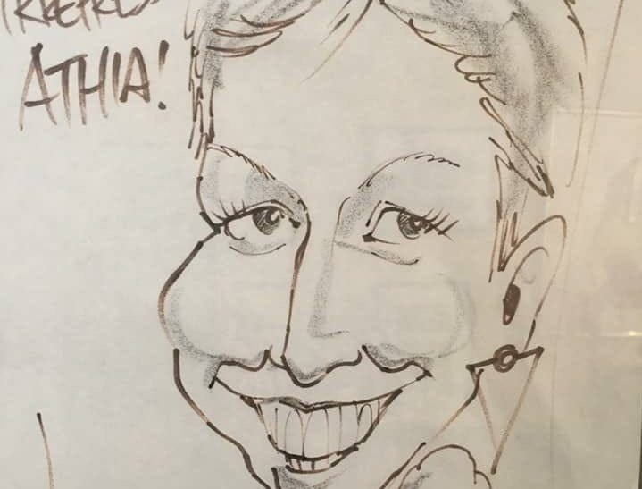 Steve Benson captured the irrepressible charm of former Republic staffer Athia Hardt in this caricature.