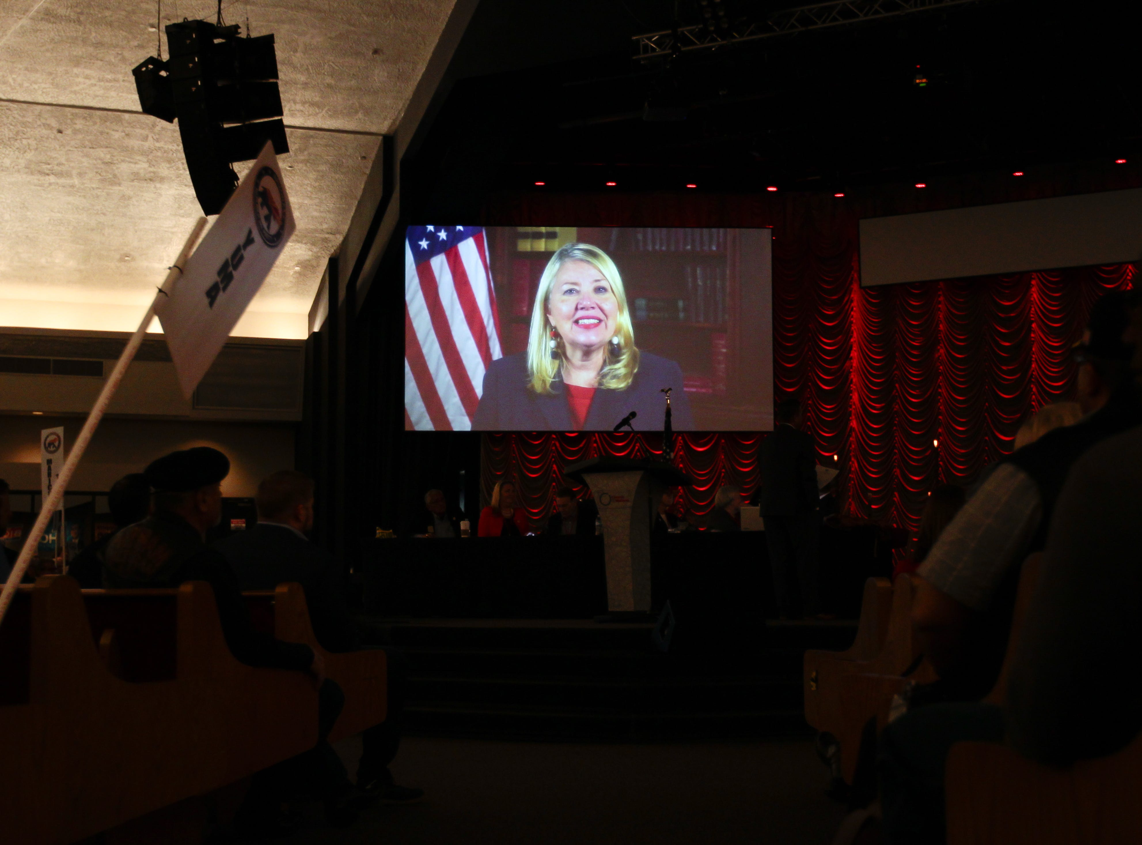Rep. Debbie Lesko delivers a message from Washington during the Statutory Meeting of the State Committee of the Arizona Republican Party at Church for the Nations on Saturday, Jan. 26, 2019.