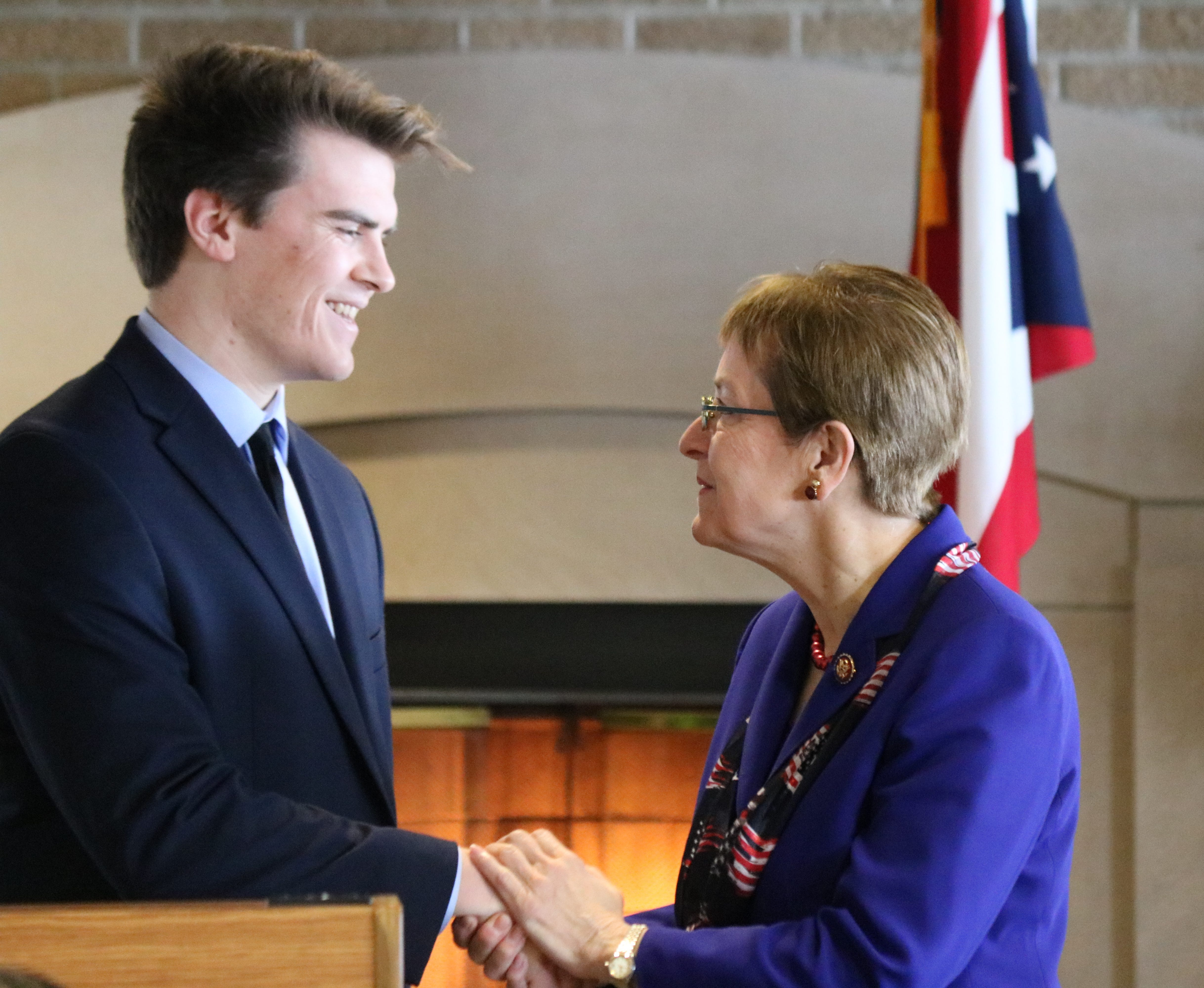 U.S. Rep. Marcy Kaptur, D-Toledo, congratulates Michael Larsen, her district's principal nominee to the U.S. Military Academy at West Point for the Class of 2023, on Saturday at Camp Perry.