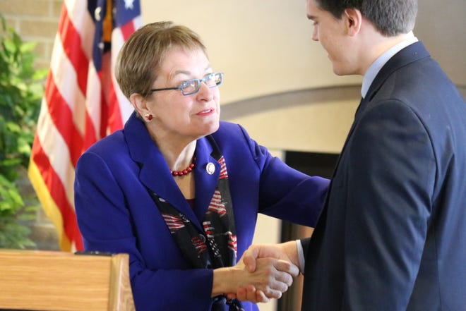 U.S. Rep. Marcy Kaptur, D-Toledo, congratulates Michael Larsen, her principal nominee to the U.S. Military Academy at West Point for the Class of 2023, on Saturday at Camp Perry.