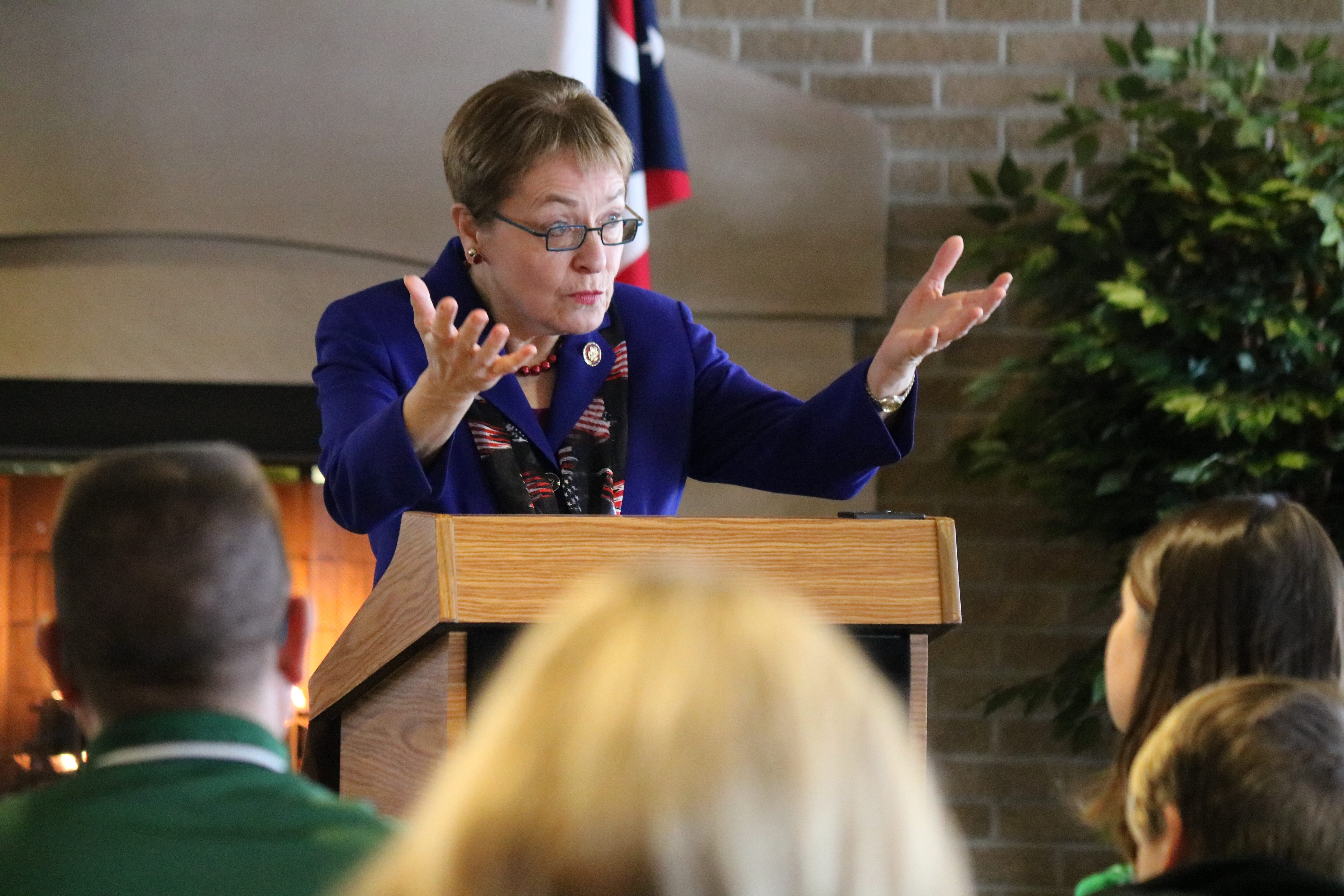 U.S. Rep. Marcy Kaptur, D-Toledo, speaks to the service academy nominees and their families on Saturday at Camp Perry.