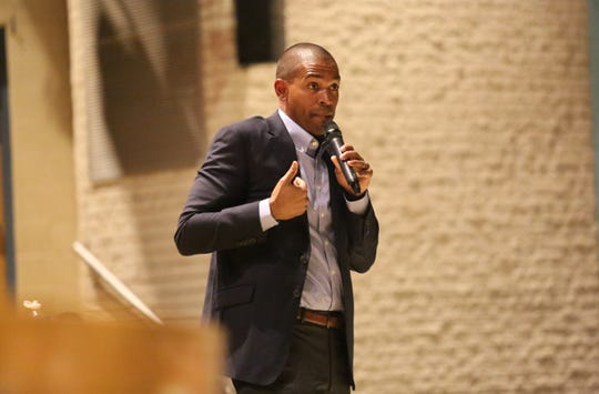 Rep. Antonio Delgado, D-19, addresses a crowd of about 100 at Stissing Mountain Junior-Senior High School in Pine Plains on Friday night. He spoke about several issues including border security and healthcare.