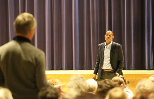 Rep. Antonio Delgado, D-19, responds to a question during a town hall in Stissing Mountain Junior-Senior High School in Pine Plains on Friday night. He spoke about several issues including border security and healthcare.