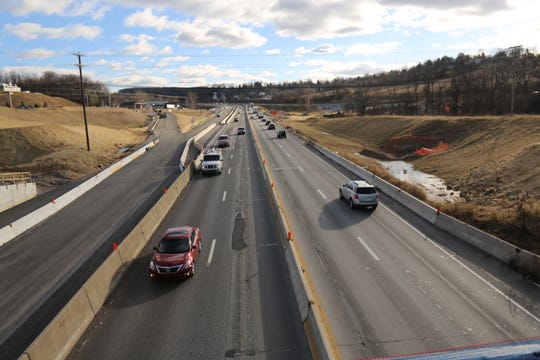This is another view of I-83 Northbound and Southbound from the Rt. 124 bridge at Mount Rose Exit 18.