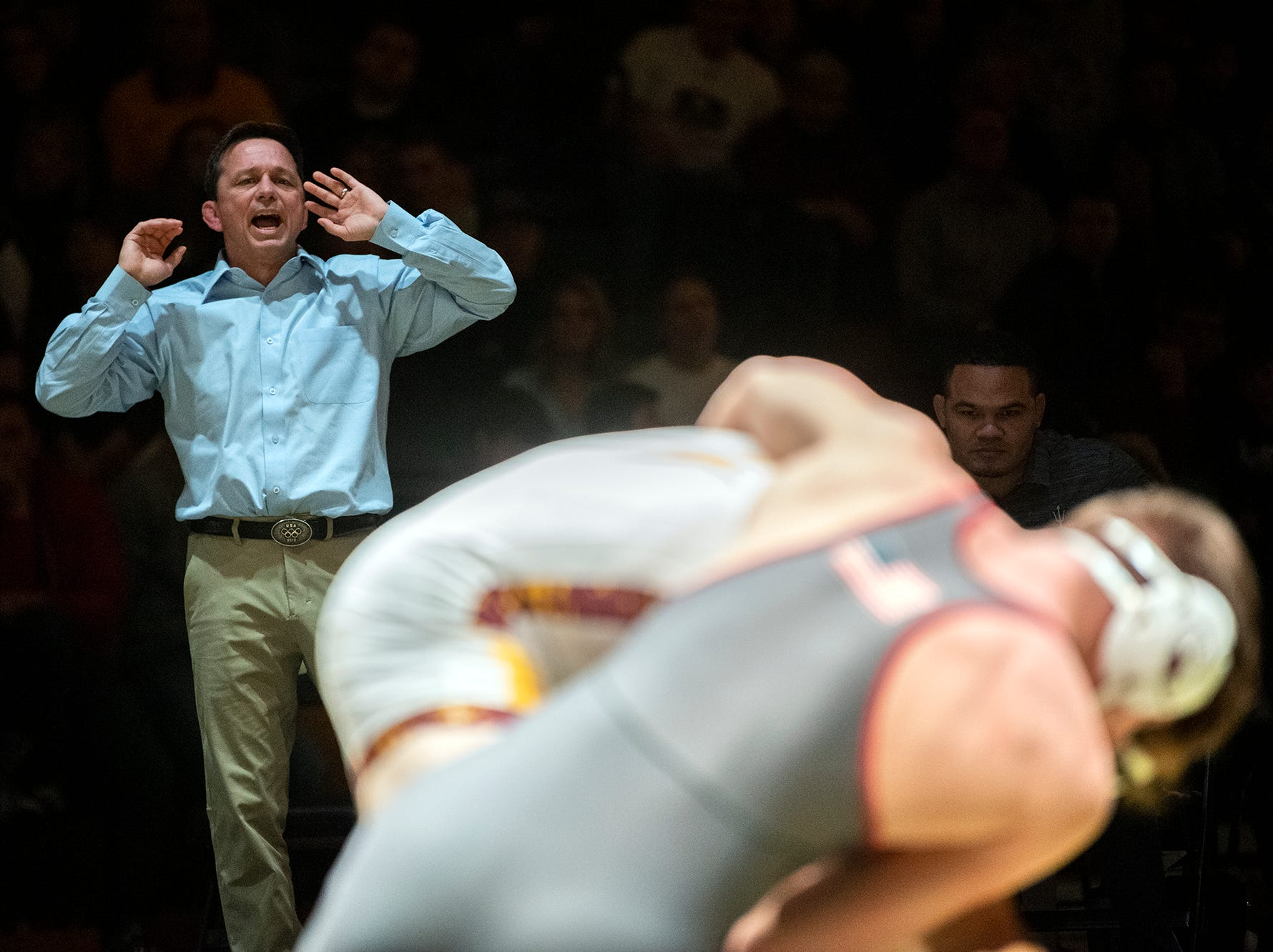 Arizona State head coach Zeke Jones yells out to one of his wrestlers at Red Lion's Fitzkee Athletic Center on Friday, Jan. 25, 2019. No. 22 Lock Haven upset No. 12 Arizona State, 23-14, in the first ever 'Rumble in the Jungle.'