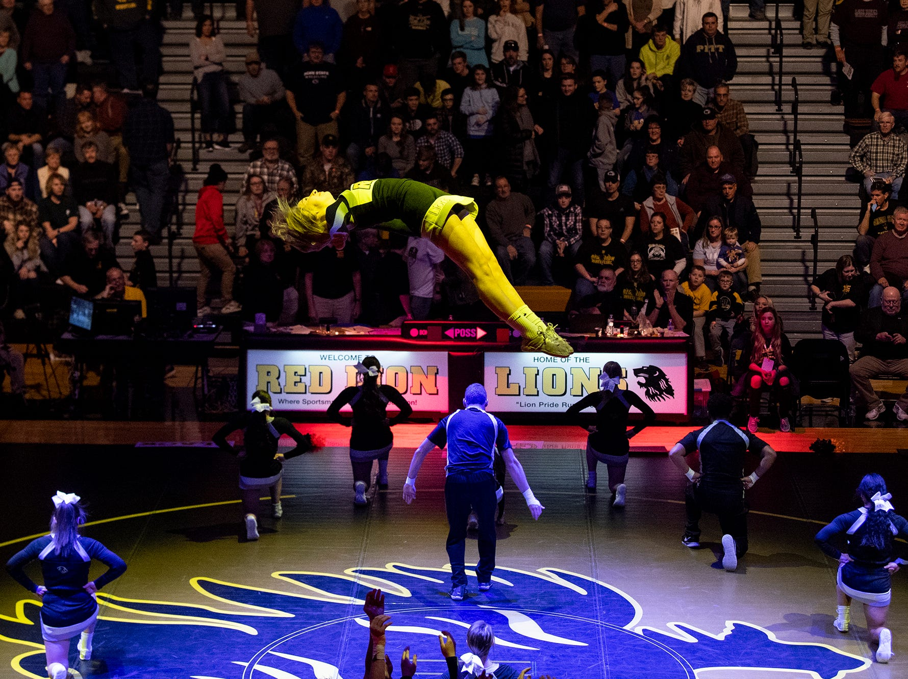 Red Lion cheerleaders perform during an intermission at Red Lion's Fitzkee Athletic Center on Friday, Jan. 25, 2019. No. 22 Lock Haven upset No. 12 Arizona State, 23-14, in the first ever 'Rumble in the Jungle.'