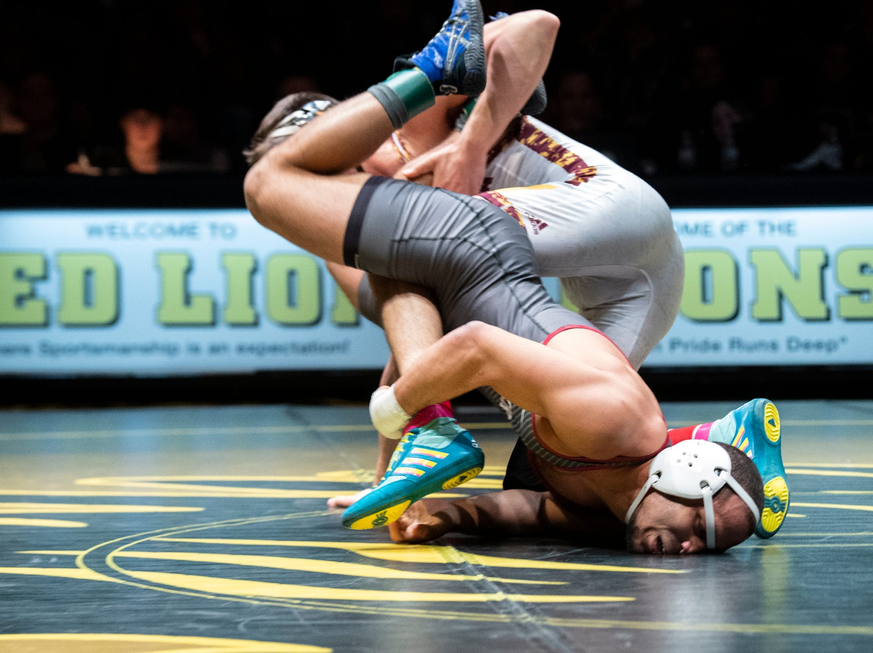 Lock Haven's Jonathan Ross, bottom, wrestles Arizona State's Josh Maruca during the 149-pound bout at Red Lion's Fitzkee Athletic Center on Friday, Jan. 25, 2019. Maruca beat Ross, 9-1. No. 22 Lock Haven upset No. 12 Arizona State, 23-14, in the first ever 'Rumble in the Jungle.'