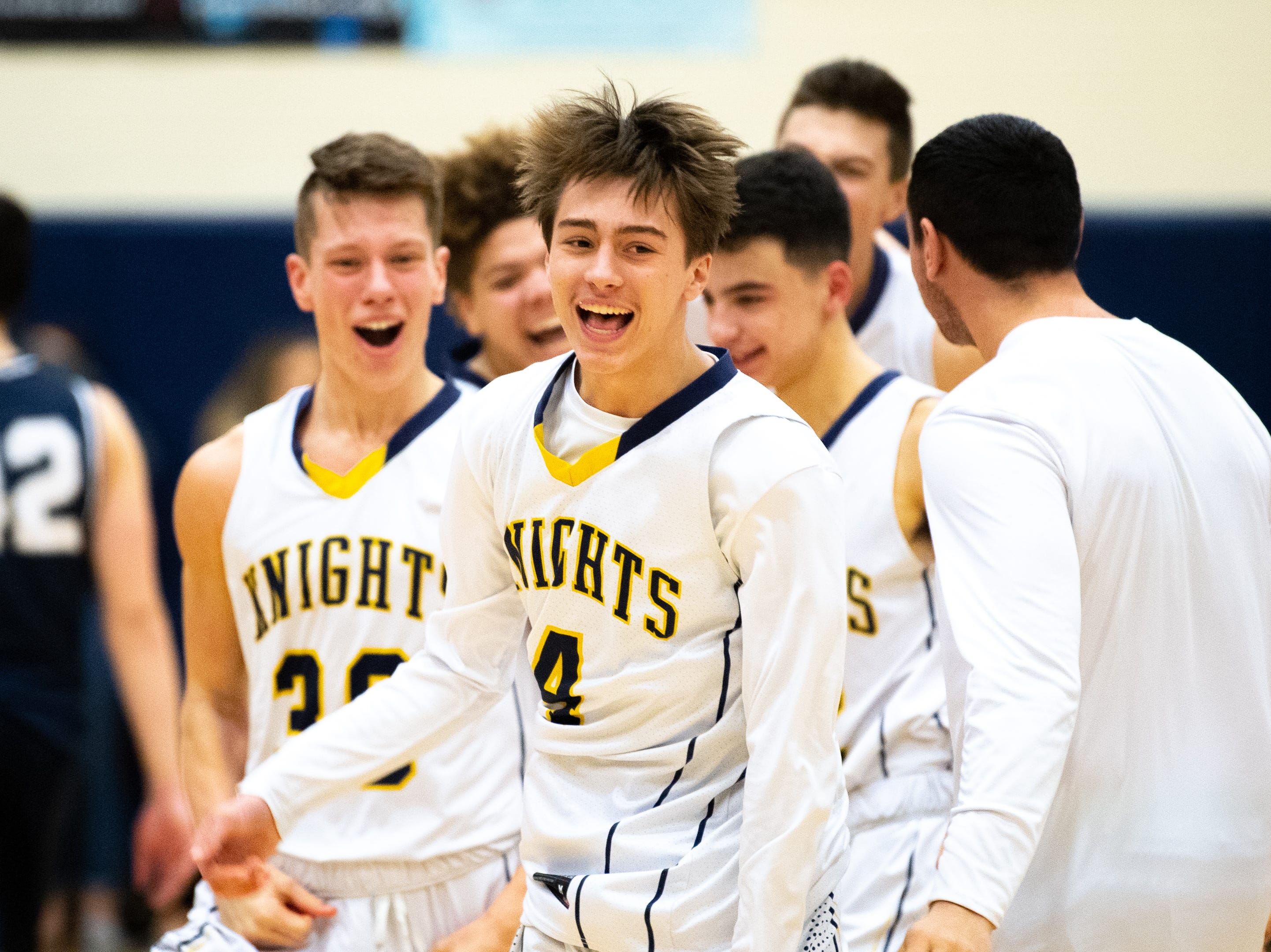 Eastern York celebrates after defeating West York 59 to 55 at home, Friday, January 25, 2019.
