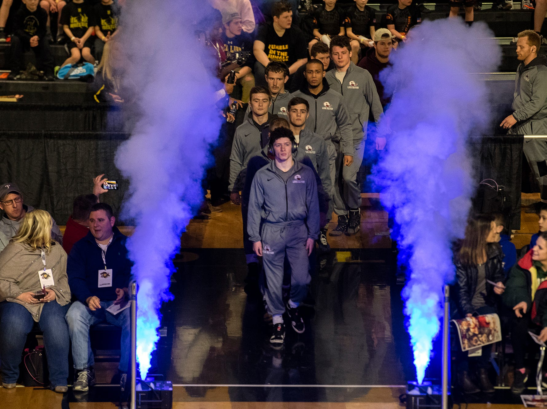 The Lock Haven wrestling team enters the mat at Red Lion's Fitzkee Athletic Center on Friday, Jan. 25, 2019. No. 22 Lock Haven upset No. 12 Arizona State, 23-14, in the first ever 'Rumble in the Jungle.'