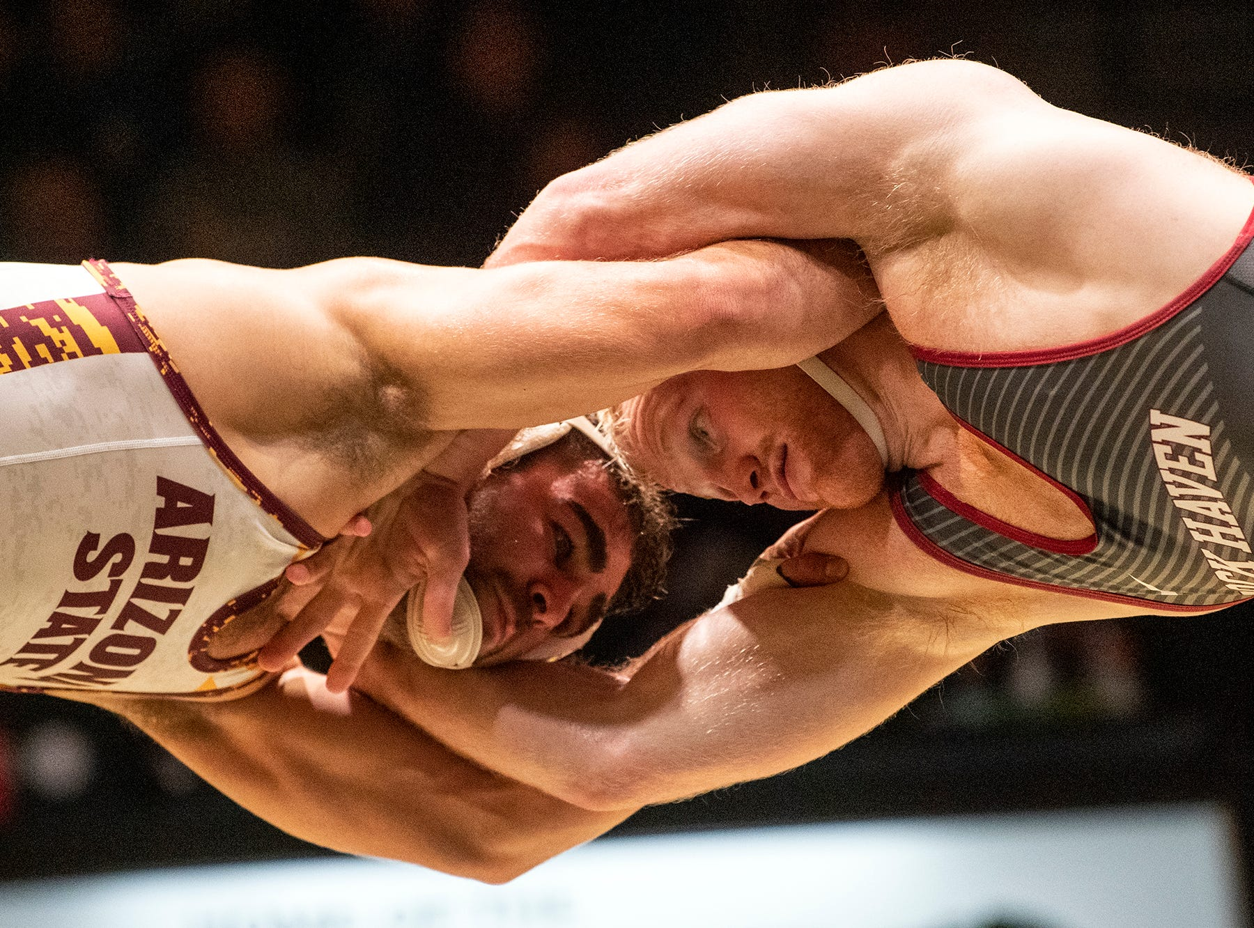 Lock Haven's Chance Marsteller, right, wrestles with Arizona State's Josh Shields during the 165-pound bout at Red Lion's Fitzkee Athletic Center on Friday, Jan. 25, 2019. Shields (No. 5) beat Marsteller (No. 4), 2-1, in a tiebreaker. No. 22 Lock Haven upset No. 12 Arizona State, 23-14, in the first ever 'Rumble in the Jungle.'