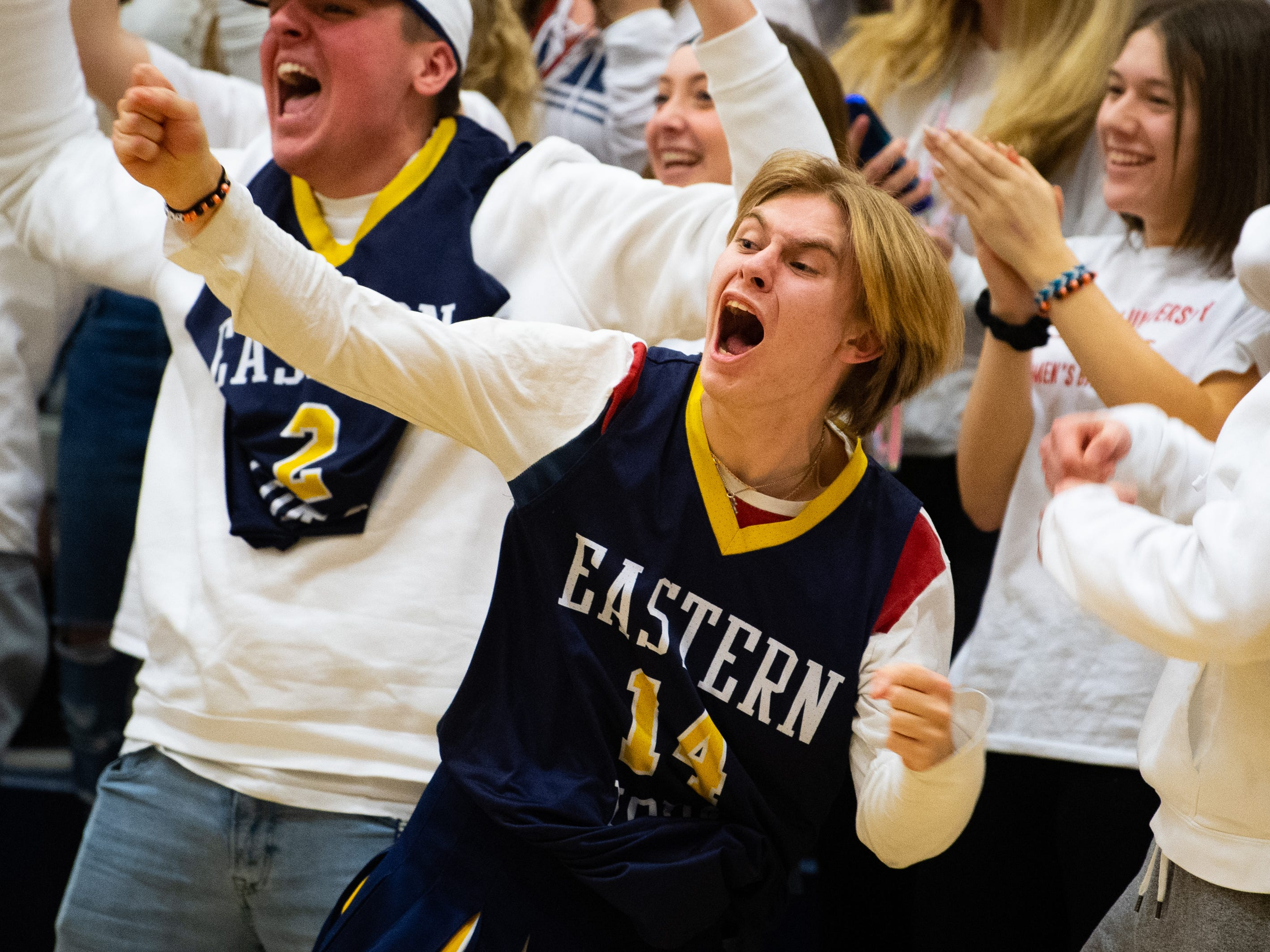 Eastern York's student section goes crazy after an and-1 play during the YAIAA boys' basketball game between Eastern York and West York, Friday, January 25, 2019. The Golden Knights defeated the Bulldogs 59 to 55.