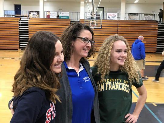 Let to right, senior Jill Beglin, Carson counselor  Nicki Hendee and senior Abby Pradere.
