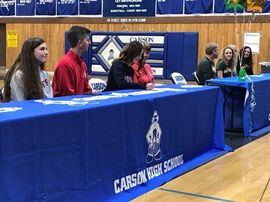 Carson seniors Jill Beglin and Abby Pradere will continue their athletics in college.