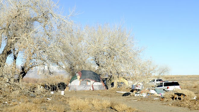 A homeless camp northwest of Fernley.