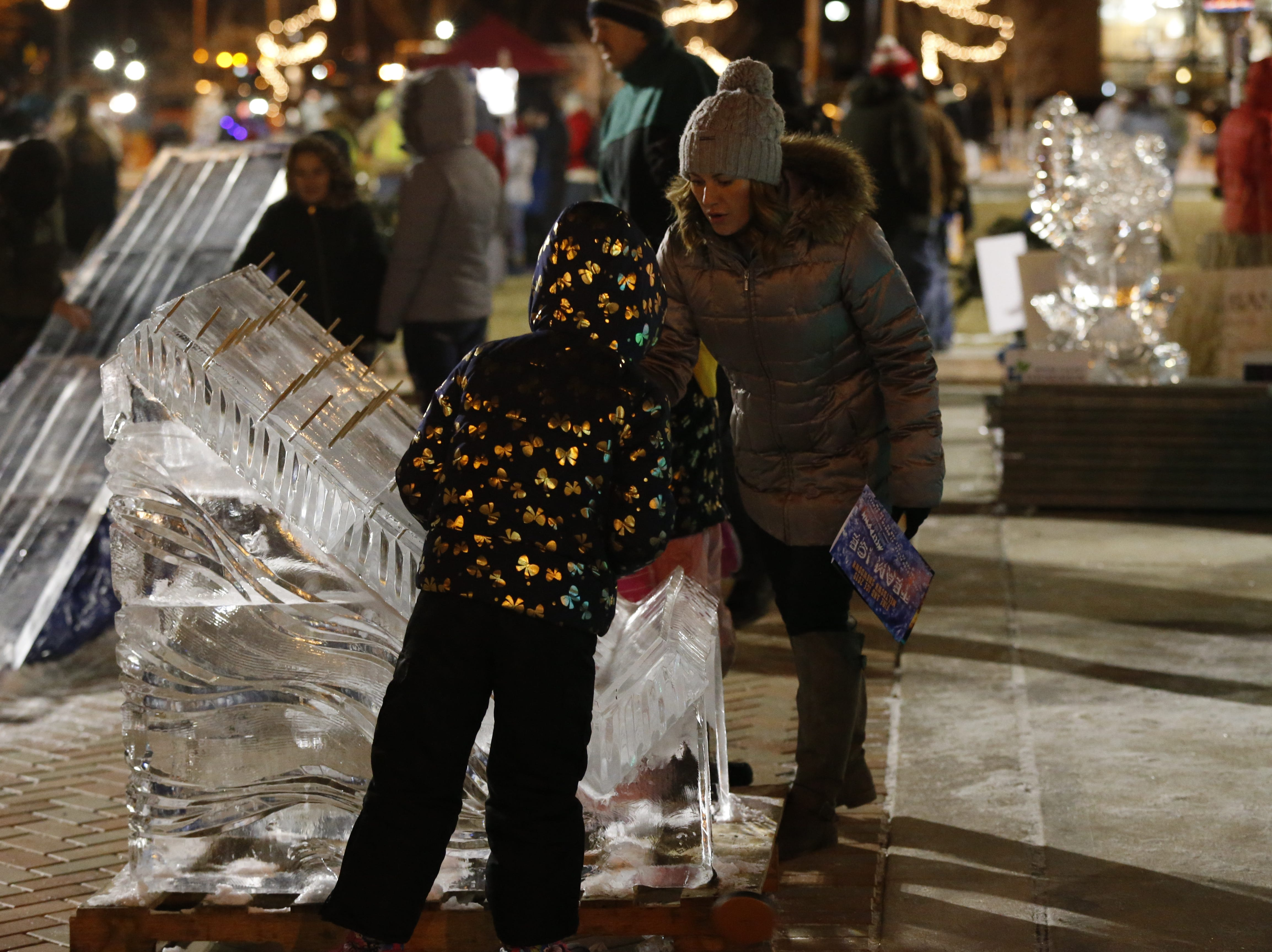 Games such as Plinko made of ice are part of the Meltdown Winter Ice Festival's Interactive Play Zone at Jack Elstro Plaza.