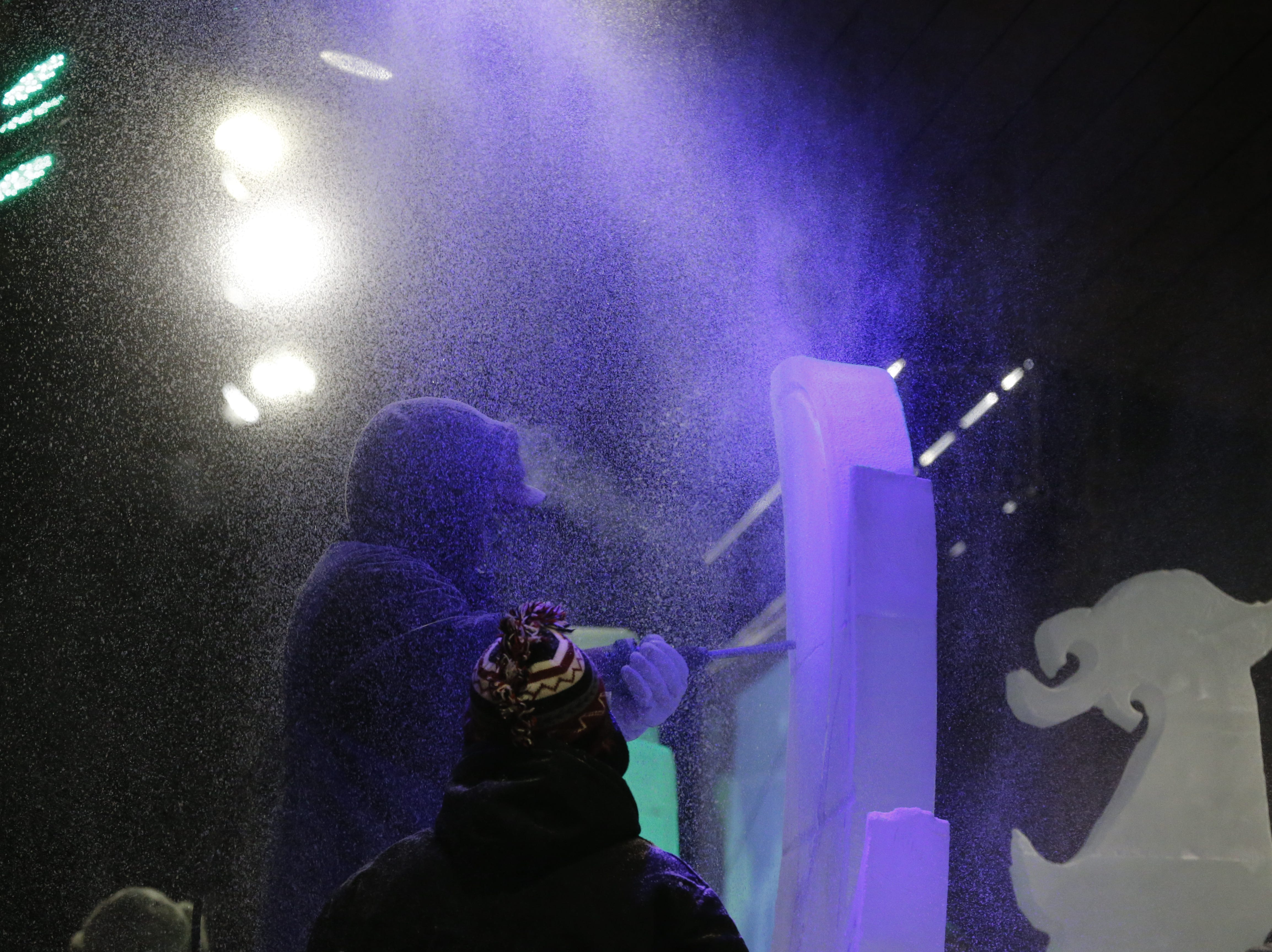 """Jack Elstro Plaza in Richmond was the site of the Meltdown Winter Ice Festival's """"Big Reveal"""" event on Jan. 25, 2019."""