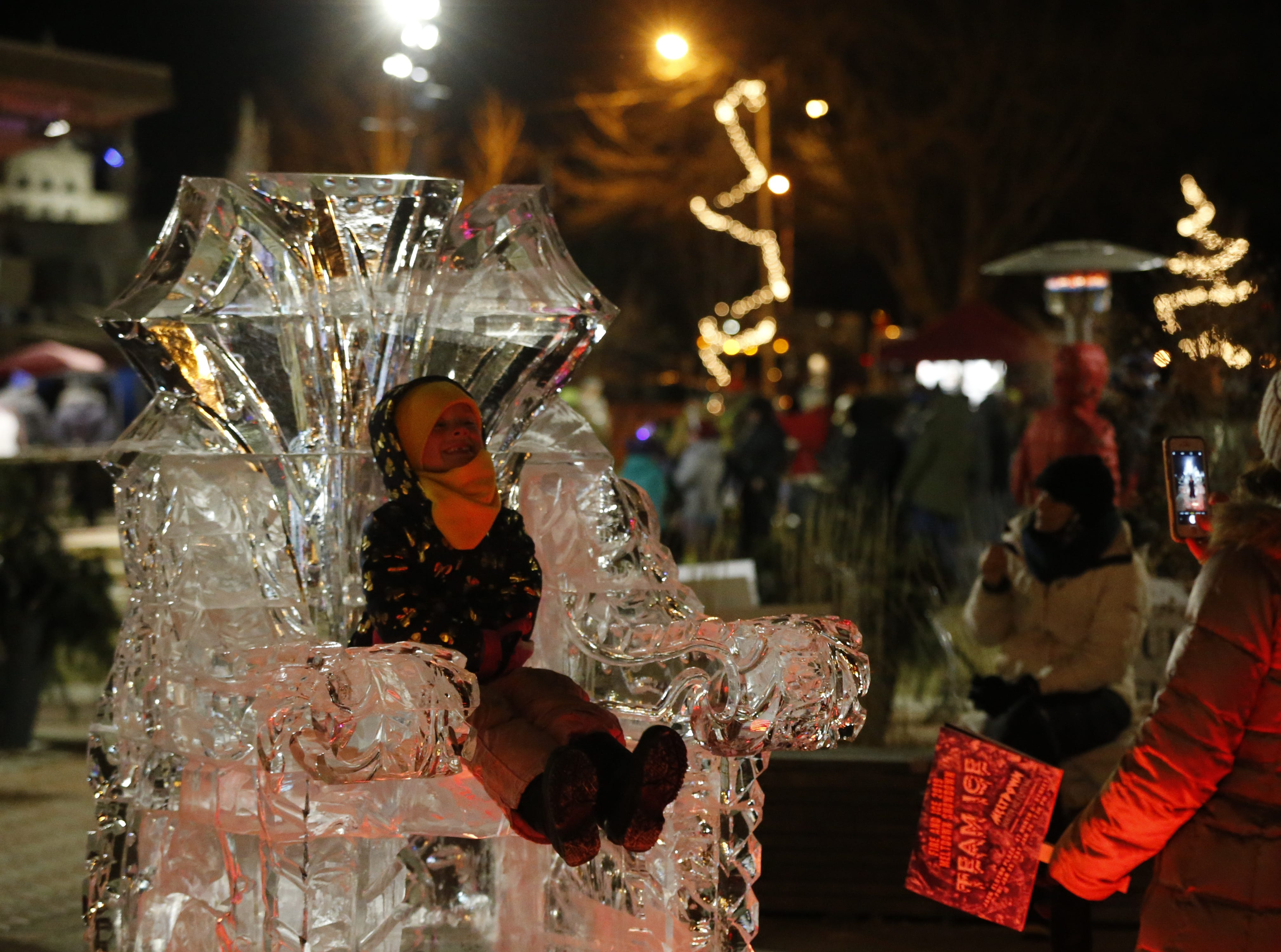 This icy throne at Jack Elstro Plaza makes for a great spot to grab a photo at the Meltdown Winter Ice Festival.