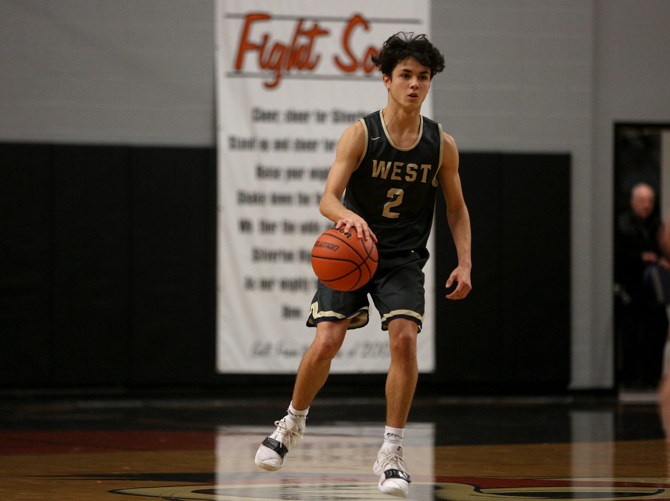 West Albany's Koby Ruiz (2) during the West Albany vs. Silverton High School boys basketball game in Silverton on Friday, Jan. 25, 2019.