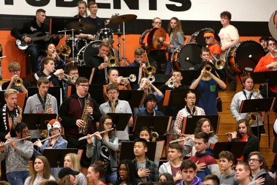 The Silverton High School band during the West Albany vs. Silverton High School boys basketball game in Silverton on Friday, Jan. 25, 2019.