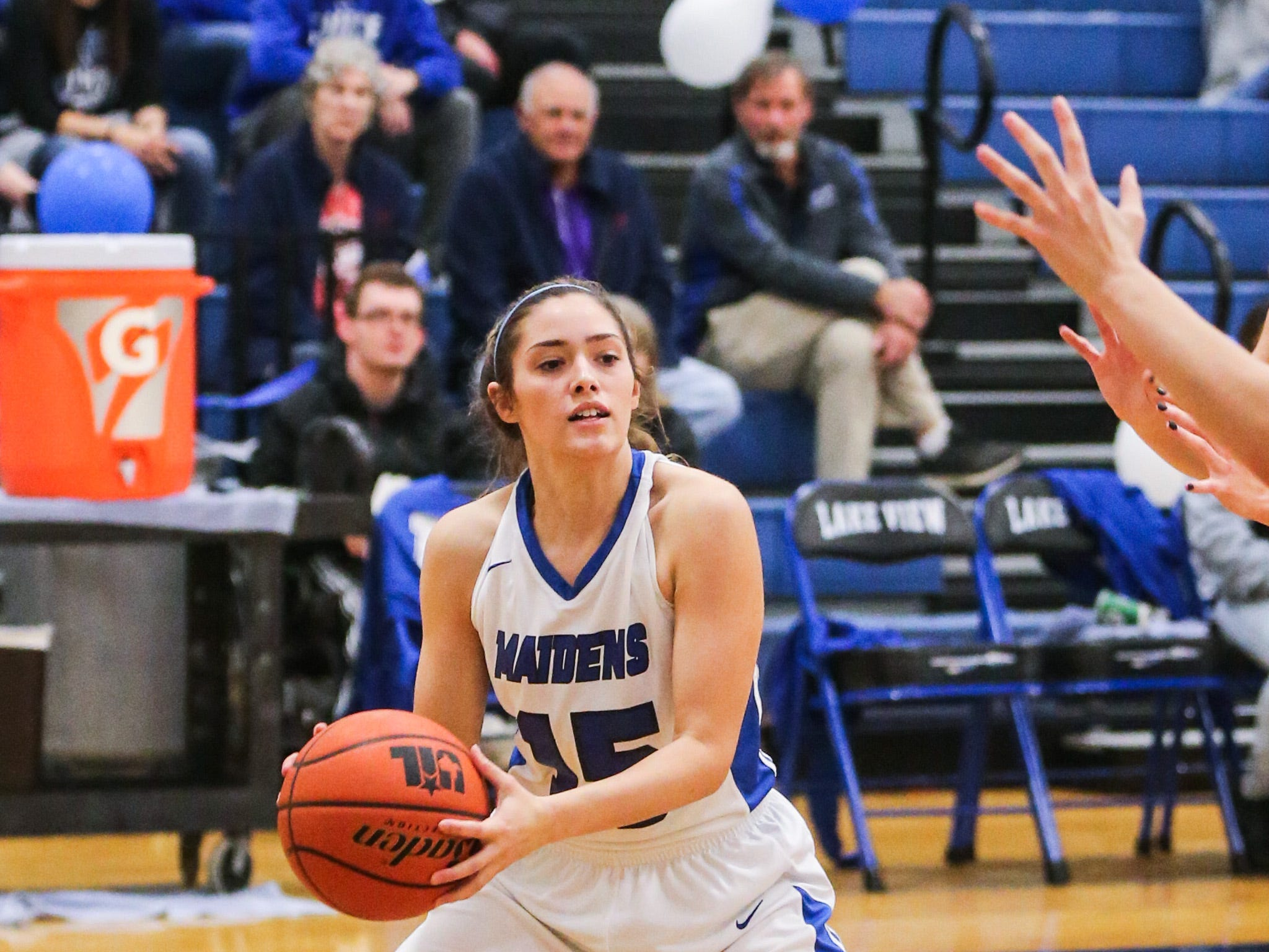 Lake View's Shae Gonzales looks to pass around Big Spring Friday, Jan. 25, 2019, at Lake View gym.