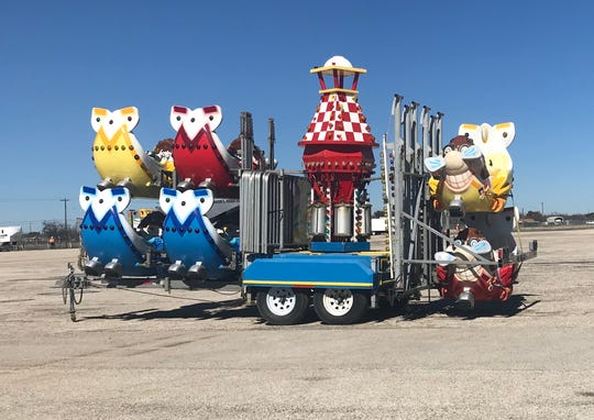 Color rides from the Sutliff and Stout Carnival were brought into the San Angelo Fairgrounds on Friday, Jan. 25, in anticipation of the 87th annual San Angelo Stock Show and Rodeo, set to open on Feb. 1. (Matthew McDaniel / Standard-Times)