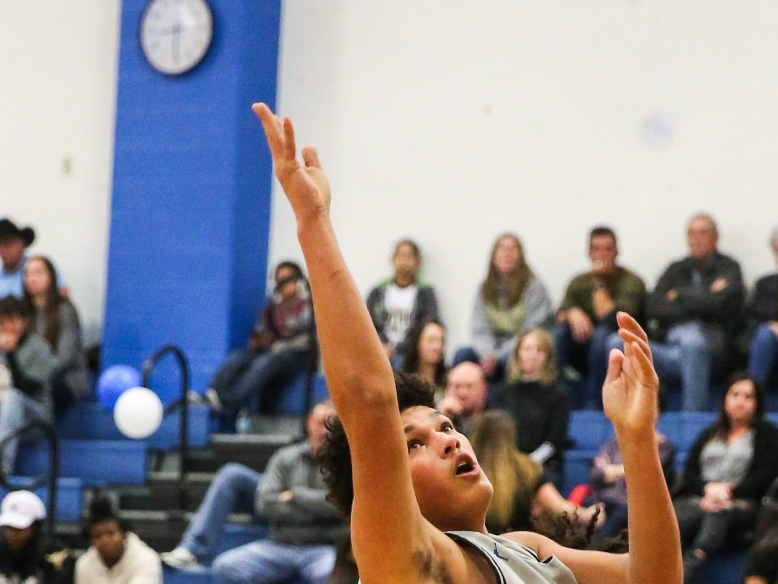 Lake View's Joseph Brooks jumps to shoot against Big Spring Friday, Jan. 25, 2019, at Lake View gym.