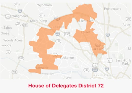 Virginia House of Delegates District 72  map.