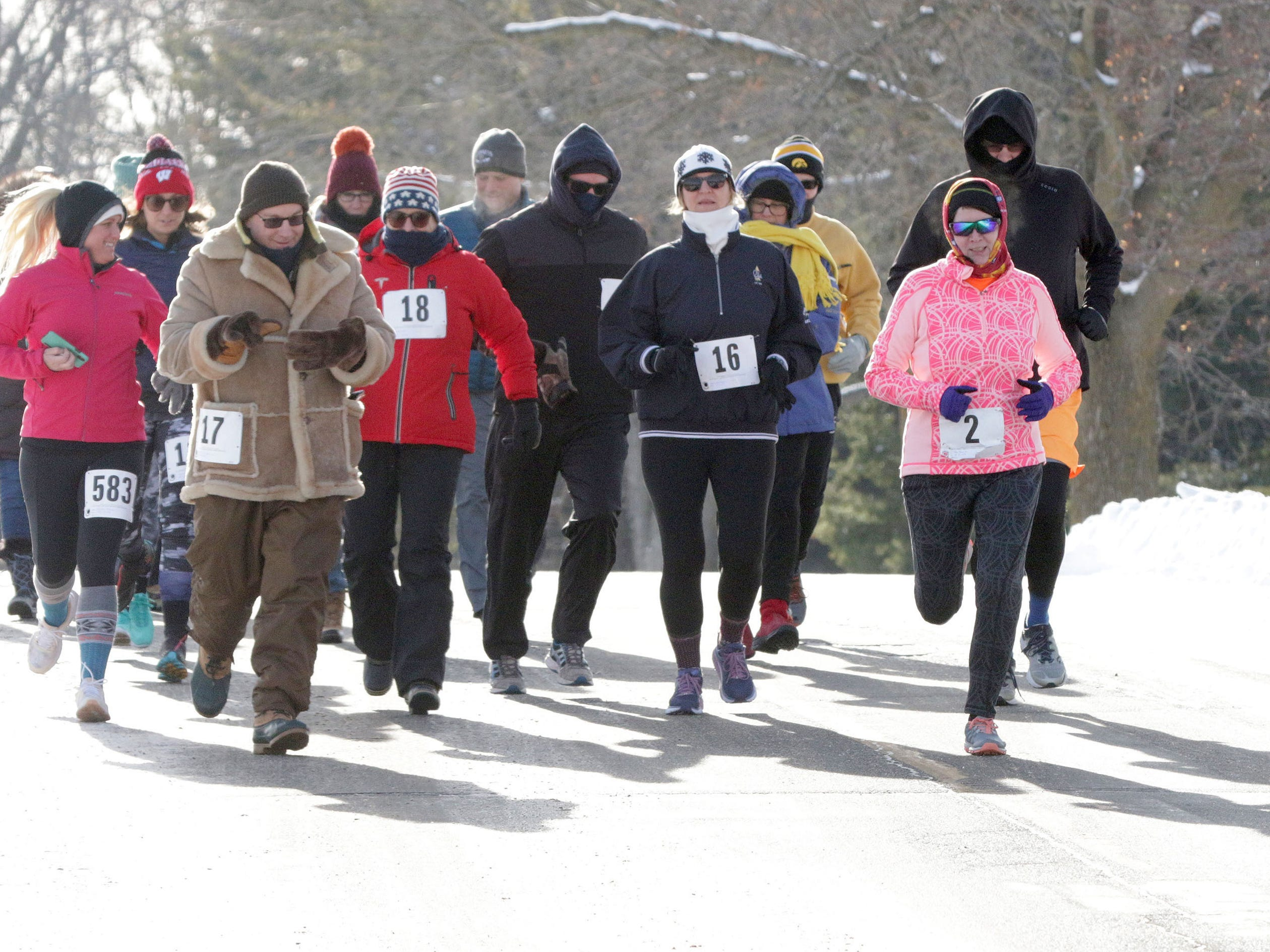 Runners at the start of the Schneelauf Riun, Saturday, January 26, 2019, in Elkhart Lake, Wis. The event is part of Schnee Days in Elkhart Lake.