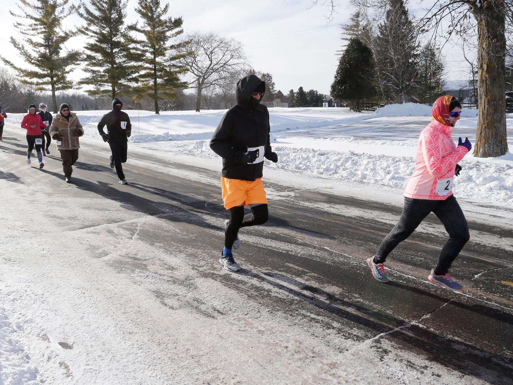 Runners at the start of the Schneelauf Riun, Saturday, January 26, 2019, in Elkhart Lake, Wis. The two-mile run is part of Schnee Days in the village.