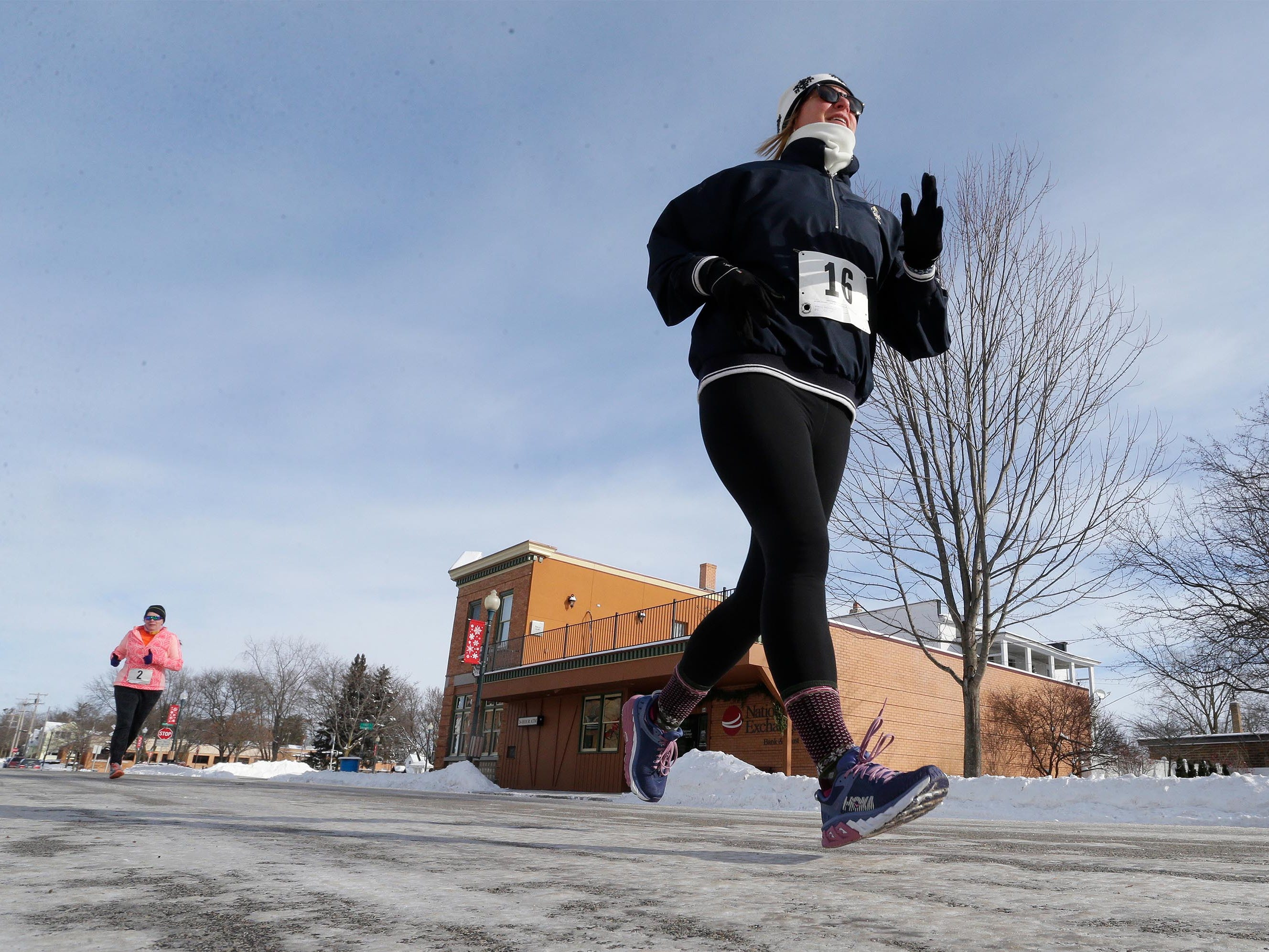 Mary Sellinger (16) of Shorewood, Wis., runs the Schneelauf Run, Saturday, January 26, 2019, in Elkhart Lake, Wis. The event is part of Schnee Days in Elkhart Lake. Sellinger had a time of 20:04 at the event.