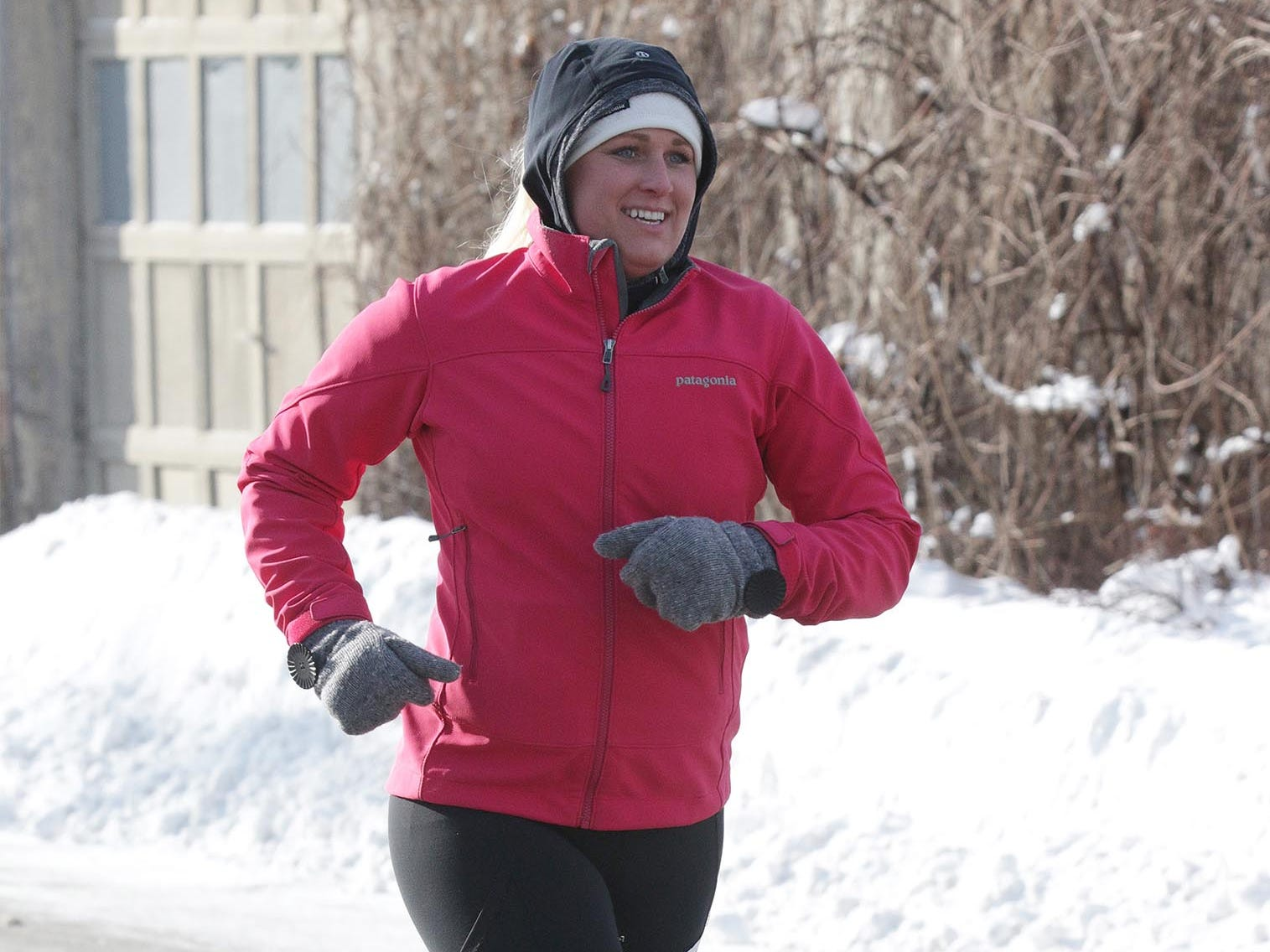 Jenna Schram (583) of Elkhart Lake runs during the 2-miles Schneelauf Run, Saturday, January 26, 2019, in Elkhart Lake, Wis. Schram won the women's division with a time of 17:17
