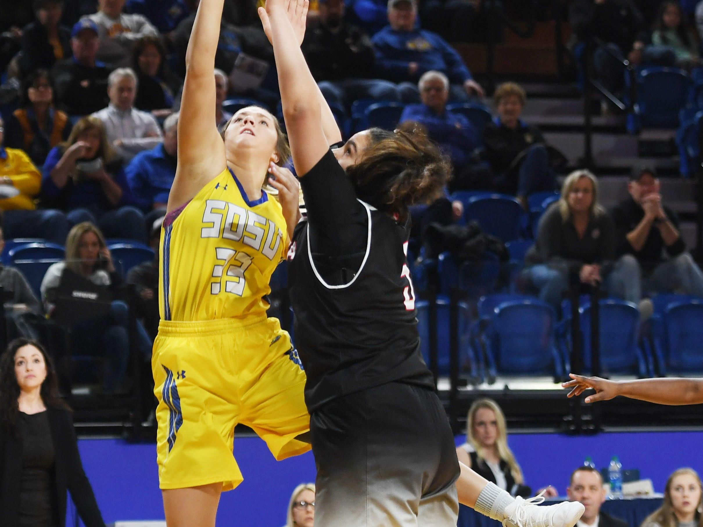 SDSU's Paiton Burckhard takes a shot against Omaha during the game Saturday, Jan. 26, at Frost Arena in Brookings.