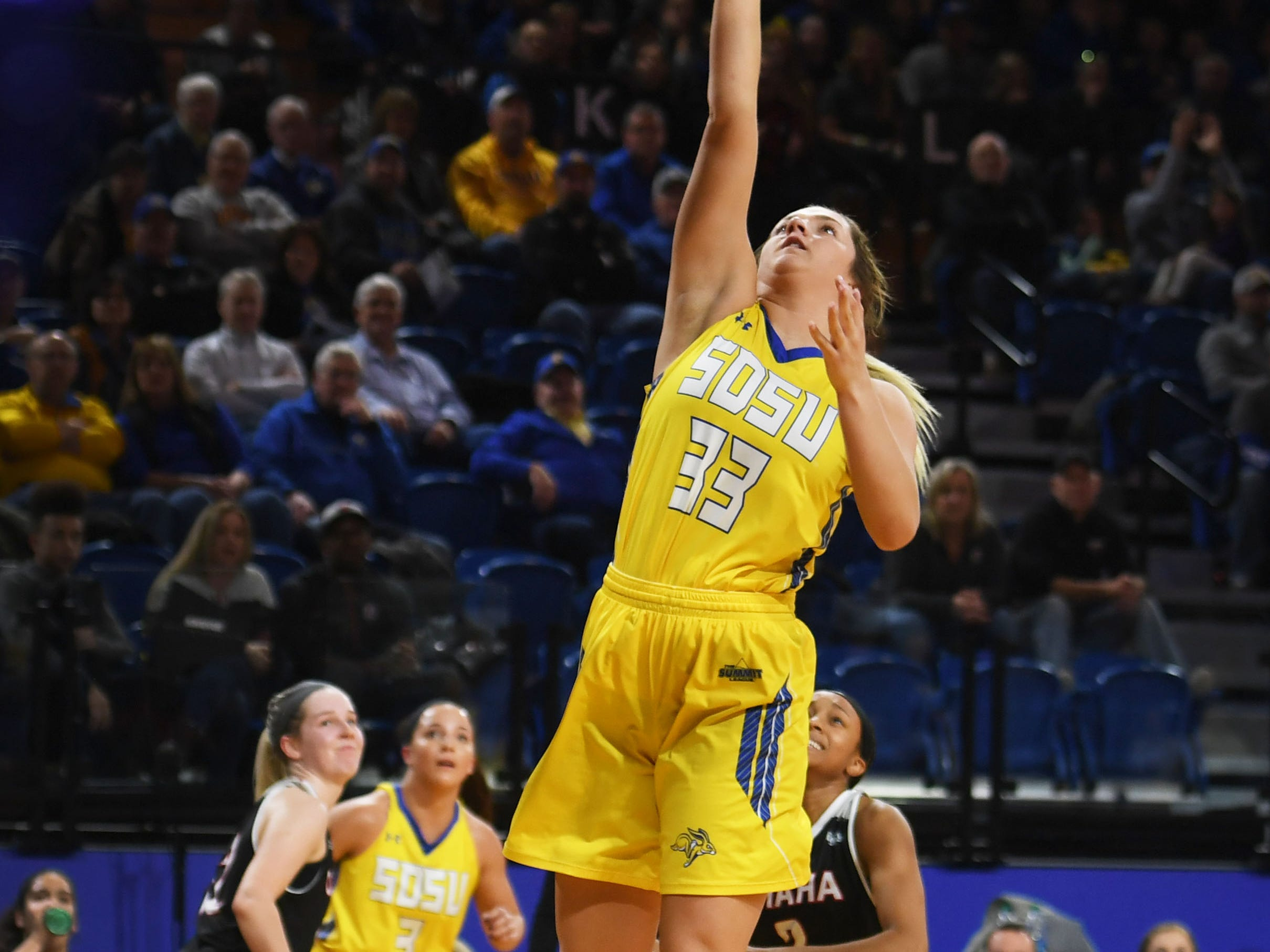 SDSU's Paiton Burckhard attempts to score against Omaha during the game Saturday, Jan. 26, at Frost Arena in Brookings.