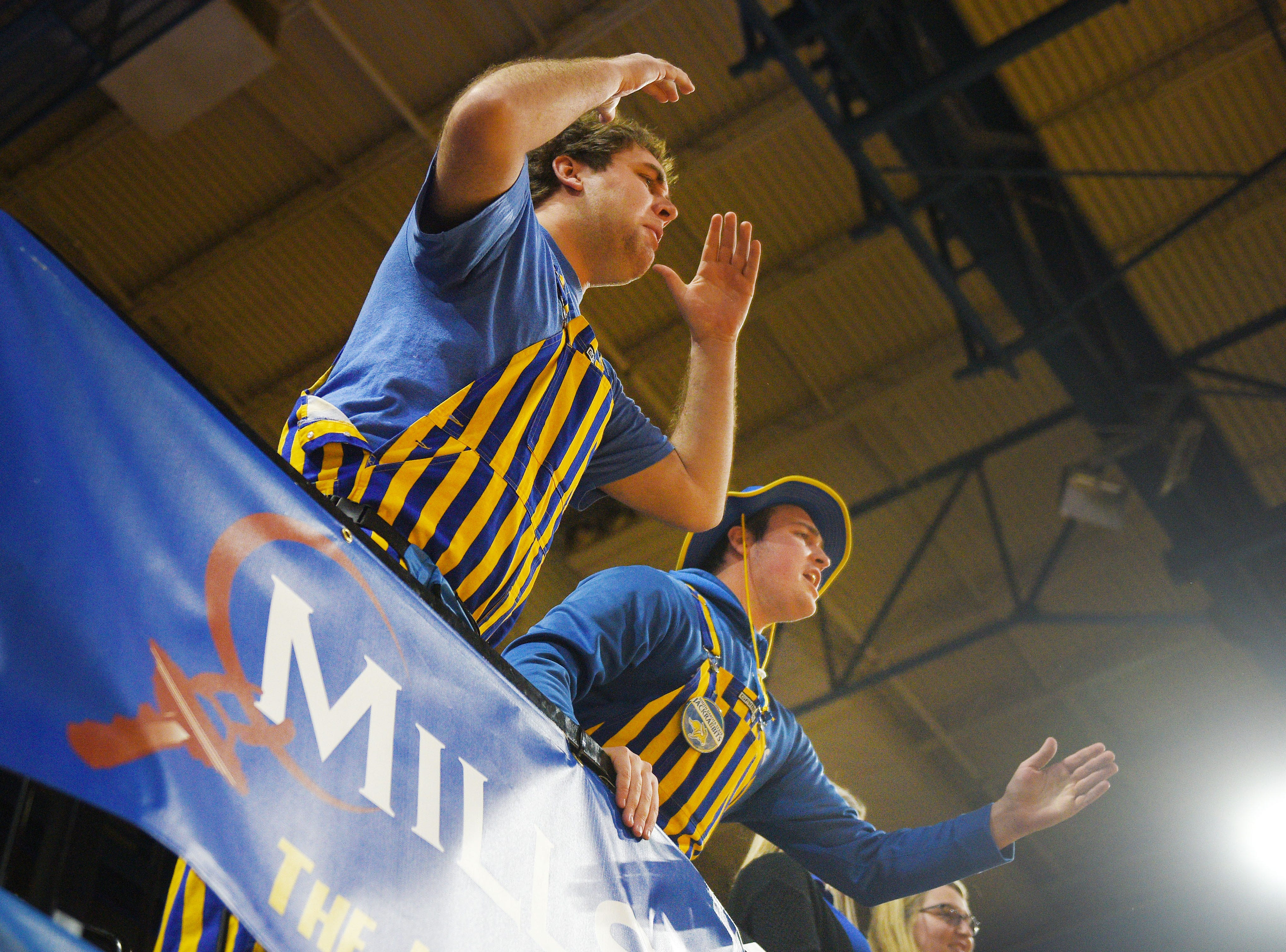 SDSU fans react to a call during the game against Omaha Saturday, Jan. 26, at Frost Arena in Brookings.
