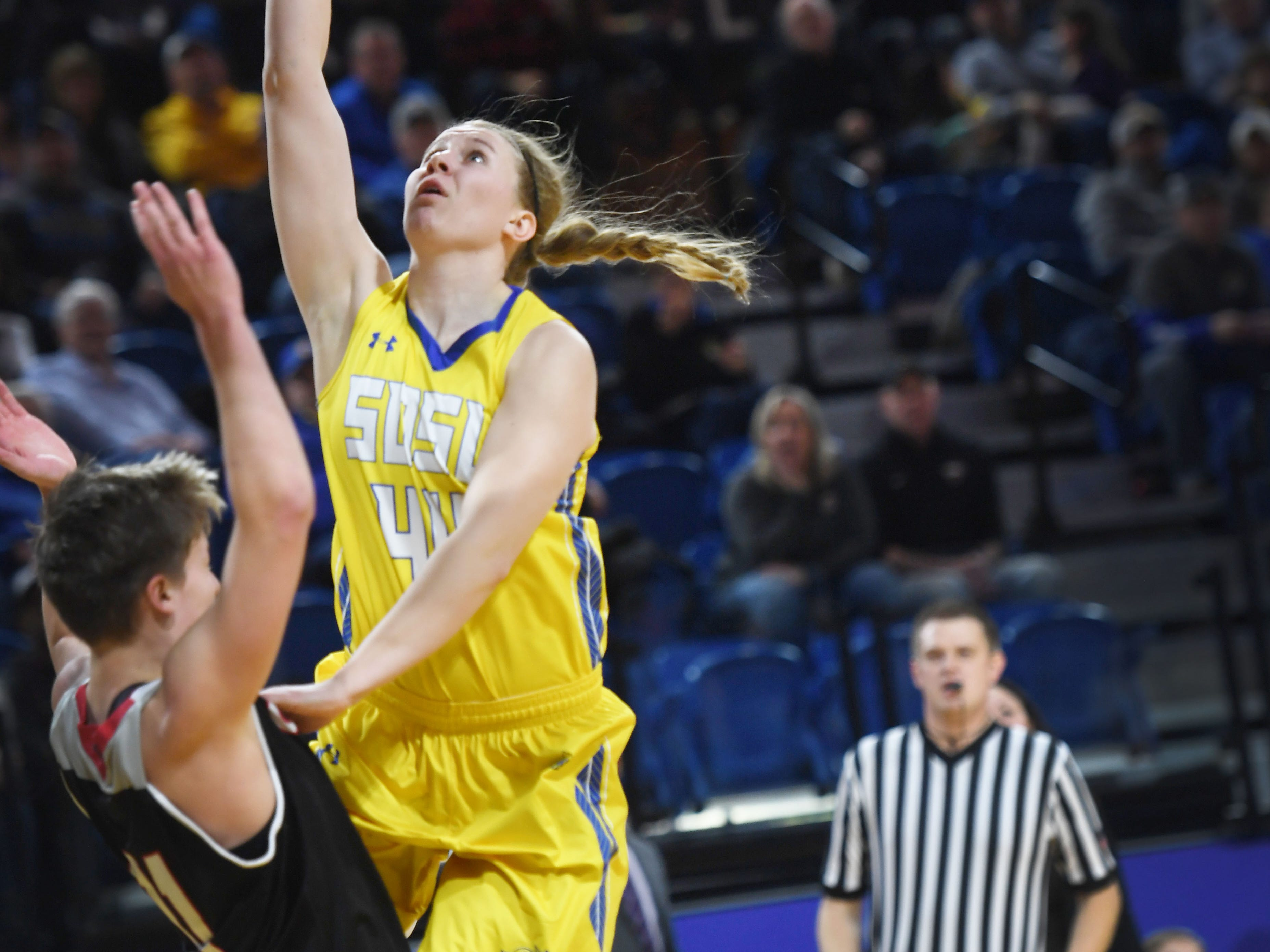 SDSU's Myah Selland attempts to score against Omaha during the game Saturday, Jan. 26, at Frost Arena in Brookings.