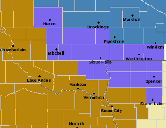 The areas in purple are under a winter weather advisory on Monday, Jan. 28, 2019.