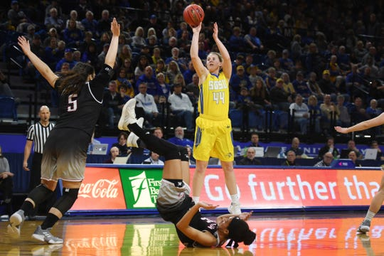 SDSU's Myah Selland takes the shot against Omaha during the game Saturday, Jan. 26, at Frost Arena in Brookings.