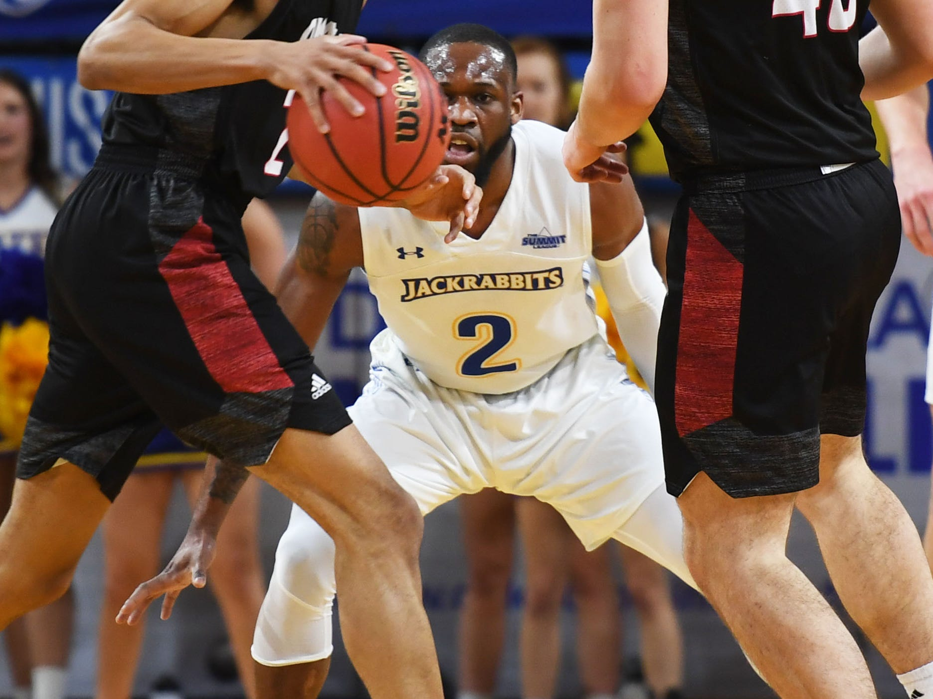 SDSU's Tevin King goes against Omaha offense during the game Saturday, Jan. 26, at Frost Arena in Brookings.