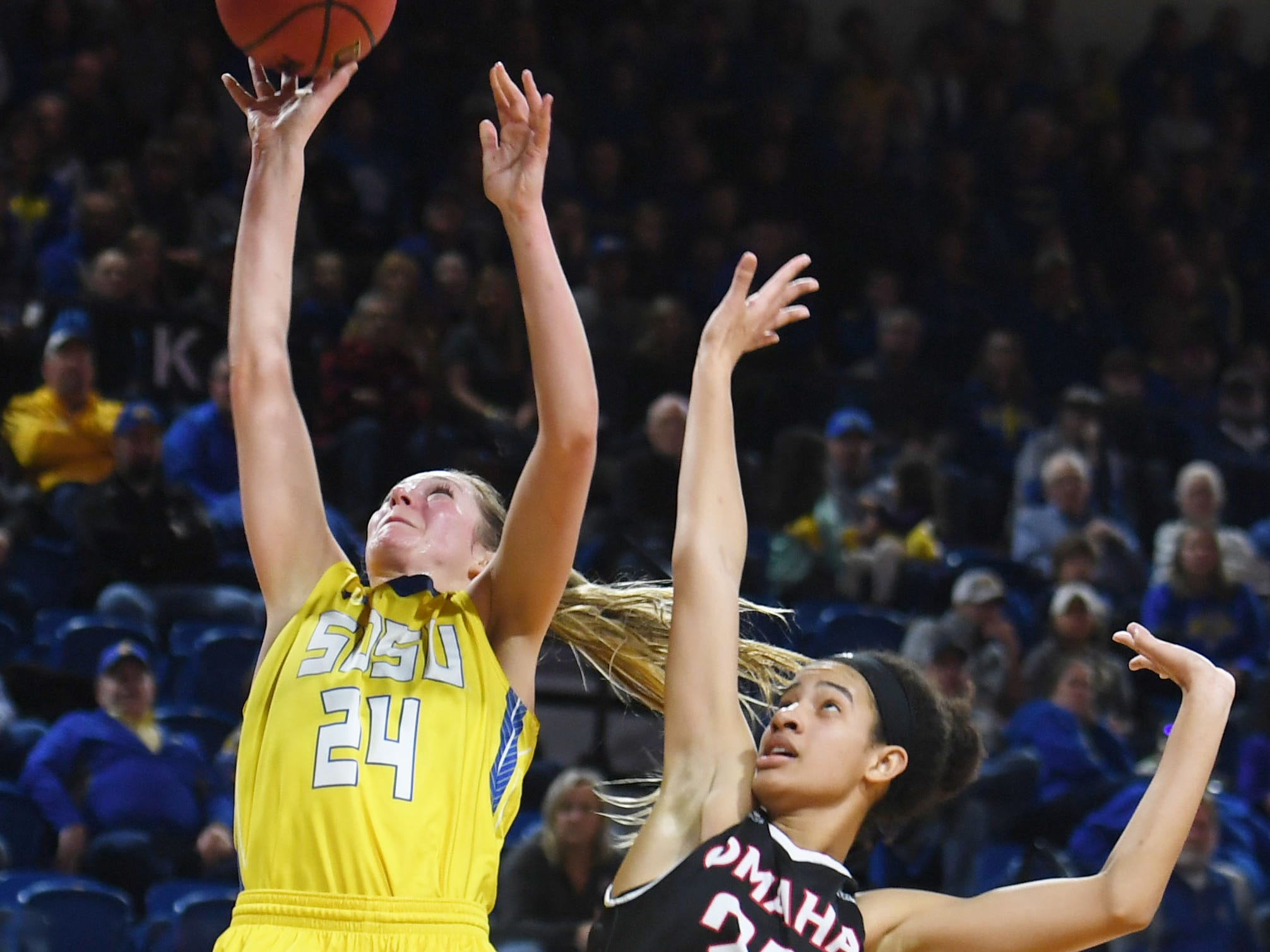 SDSU's Tagyn Larson attempts to score against Omaha during the game Saturday, Jan. 26, at Frost Arena in Brookings.