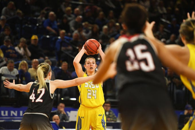 SDSU's Tagyn Larson goes against Omaha defense during the game Saturday, Jan. 26, at Frost Arena in Brookings. SDSU won 81-47 against Omaha.