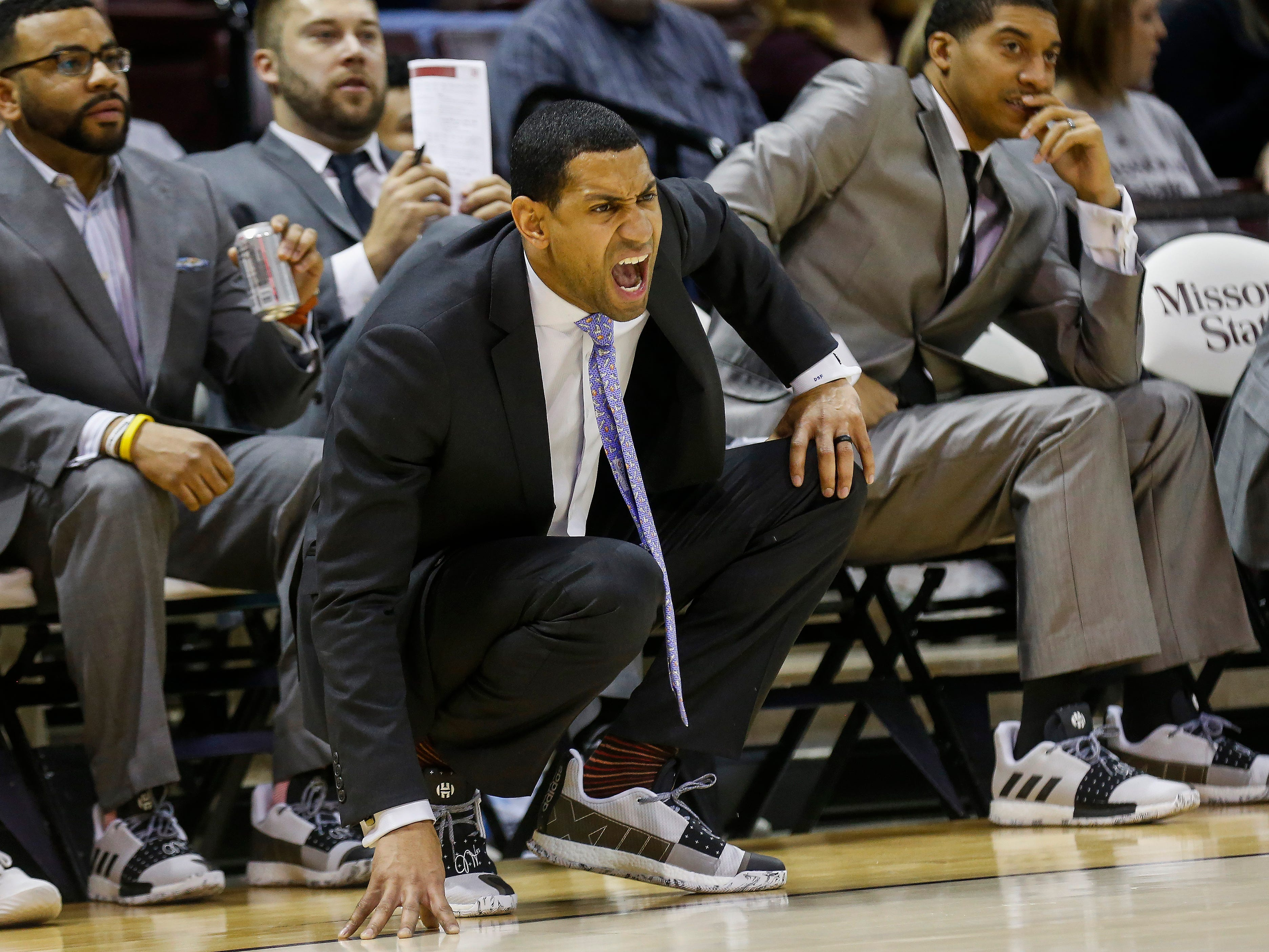 Missouri State head coach Dana Ford shouts out instructions during the Bears' game against Bradley at JQH Arena on Saturday, Jan. 26, 2019.