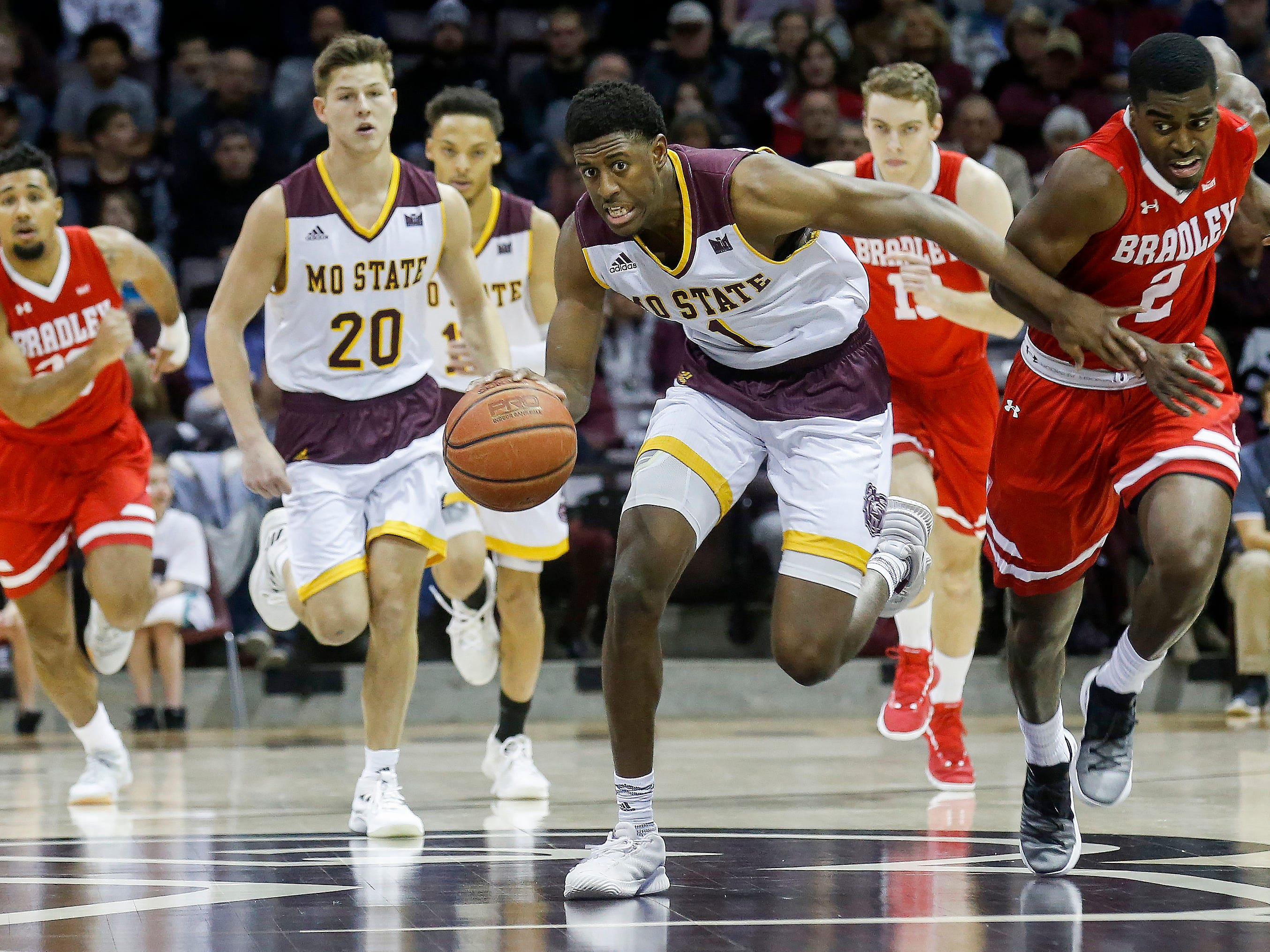 Keandre Cook, of Missouri State, brings the ball down the court during the Bears' game against Bradley at JQH Arena on Saturday, Jan. 26, 2019.