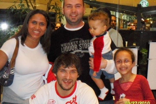 The Ramsey family with Washington Capitals star Alex Ovechkin. A young Payton Ramsey was more interested in the hockey player's hair.