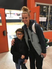 Payton Ramsey with William Monroe senior and future Notre Dame Fighting Irish basketball player Sam Brunelle.