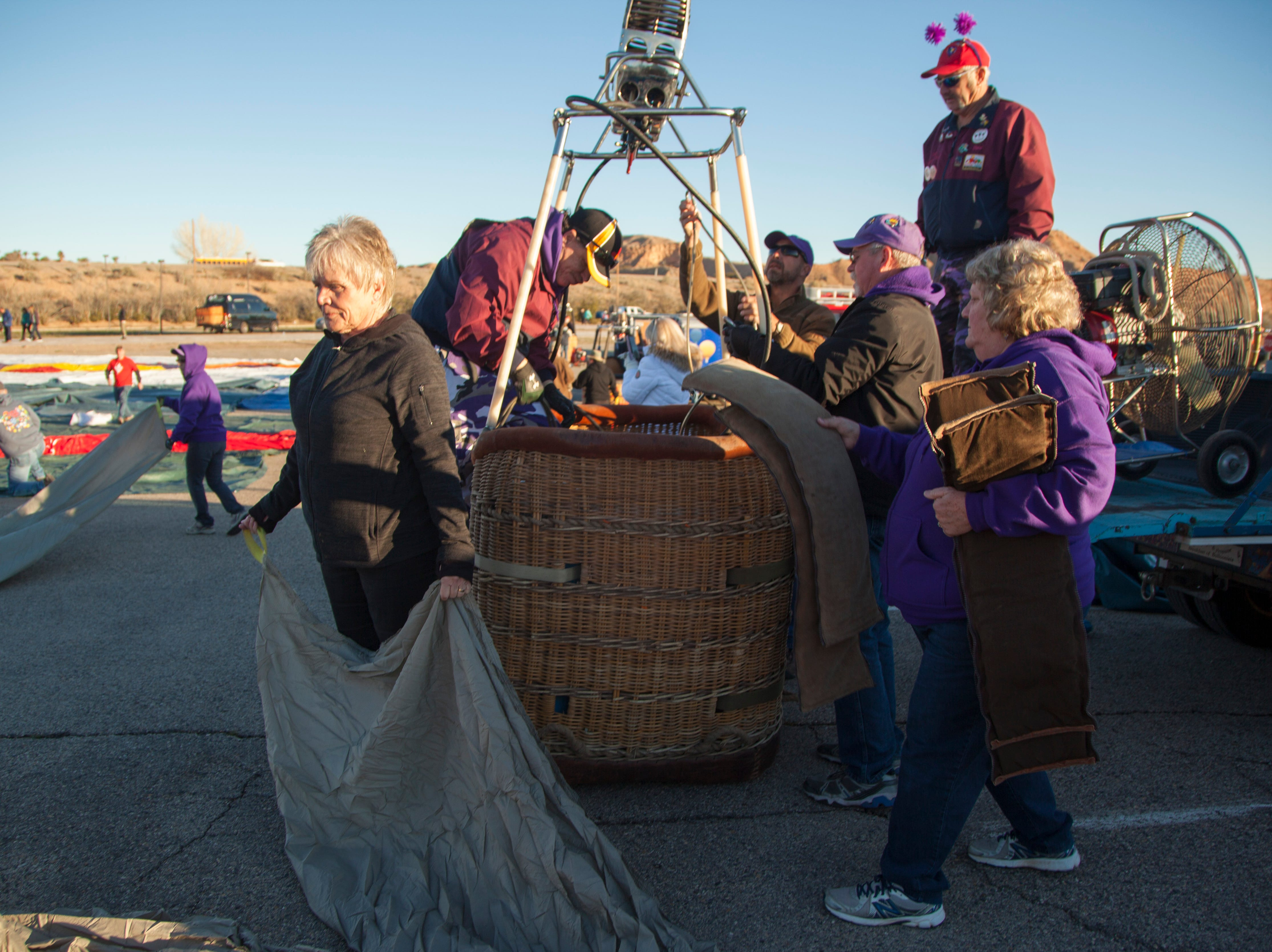 Hot air balloon fans gather at the Casablanca for the annual Mesquite Balloon Festival Friday, Jan. 25, 2019.