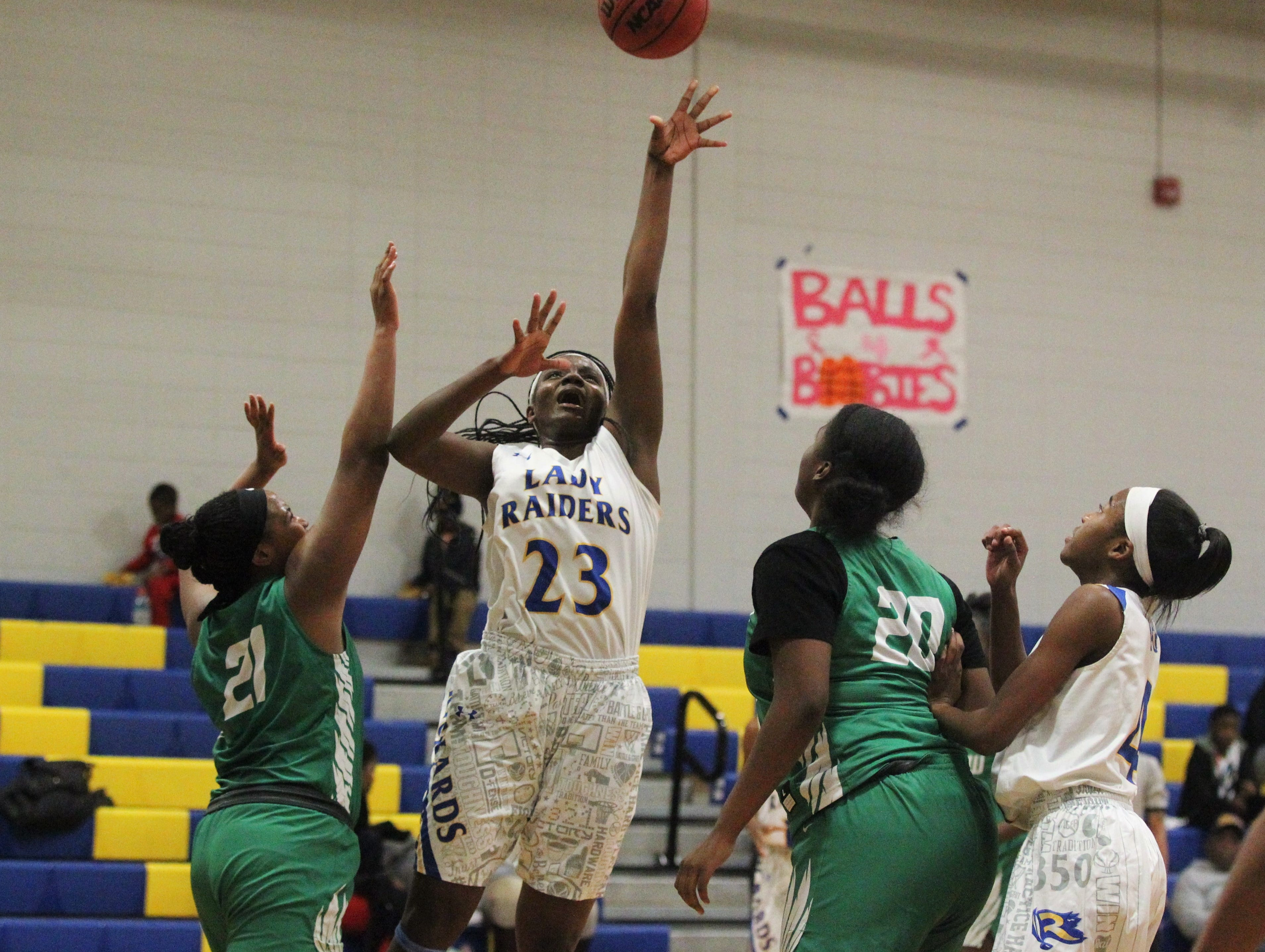 Rickards senior forward Renia Hawkins goes up for a layup as the Raiders beat Choctaw on Jan. 25, 2019.